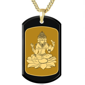Brahma with Background Inside a Frame - Gold Image on Black Onyx Gemston