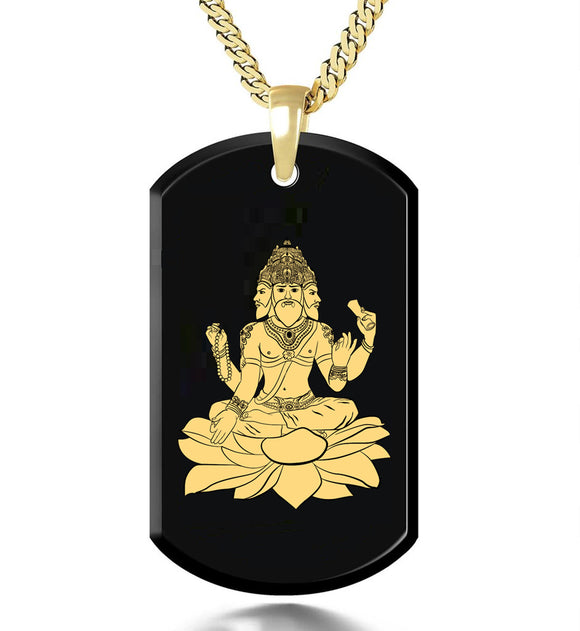 Brahma - Gold Image on Black Onyx Gemstone