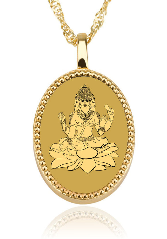 Brahma Background  Oval - Gold Image on Onyx Gemstone