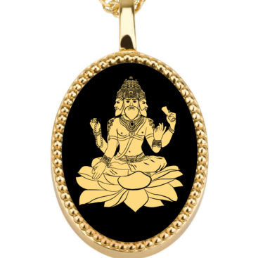 Brahma With Black Oval - Gold Image on Onyx Gemstone