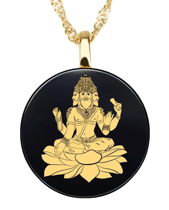 Brahma Round Pendant - Gold Image on Onyx Gemstone