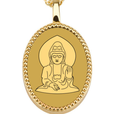 Buddha Background oval - Gold Image on Onyx Gemstone