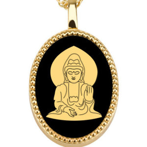 Buddha With Background oval - Gold Image on Black Onyx Gemstone