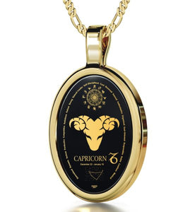 Capricorn - Gold imprint on black Onyx gemstone