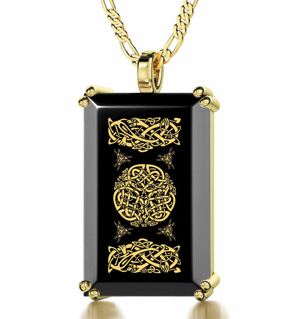 Celtic Knot - Gold imprint on black Onyx gemstone
