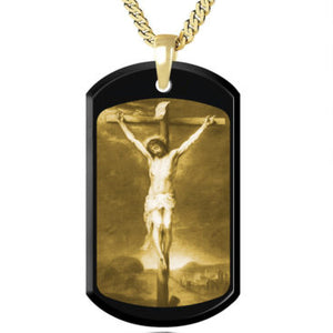 The crucifixion of Jesus Gold picture on Gemstone