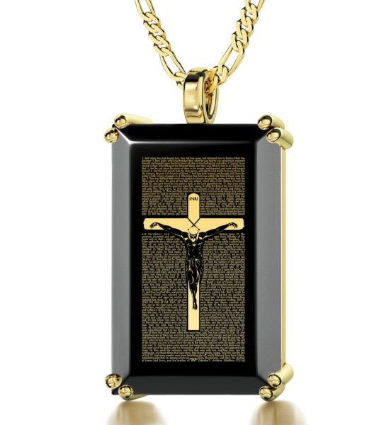 Crucifix Matthew 27 in Spanish - Gold imprint on black Onyx gemstone