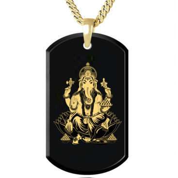 Ganesha - Gold Image on Black Onyx Gemstone