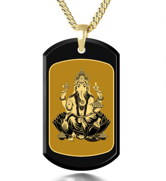 Ganesha with Background Inside a Frame - Gold Image on Black Onyx