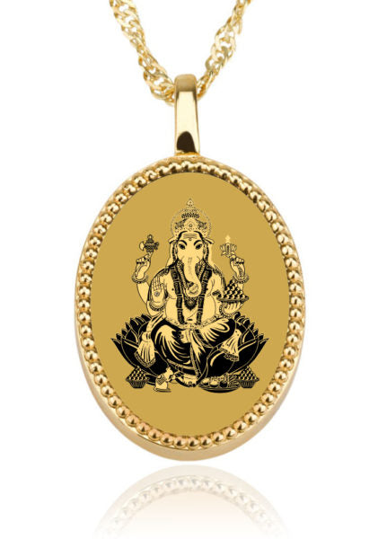 Ganesha Background Oval – Gold Image on Onyx Gemstone