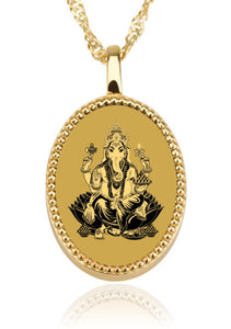 Ganesha with Background - Gold Image on Black Onyx Gemstone