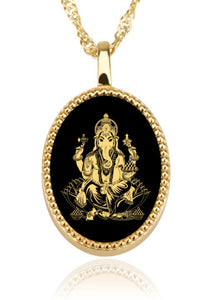 Ganesha With Background Oval – Gold Image on Black Onyx Gemstone