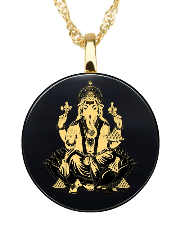 Ganesha Round Pendant- Gold Image on Black Onyx Gemstone