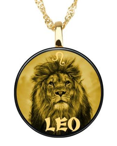 Zodiac Pendant Leo Necklace - Gold imprint on black Onyx gemstone