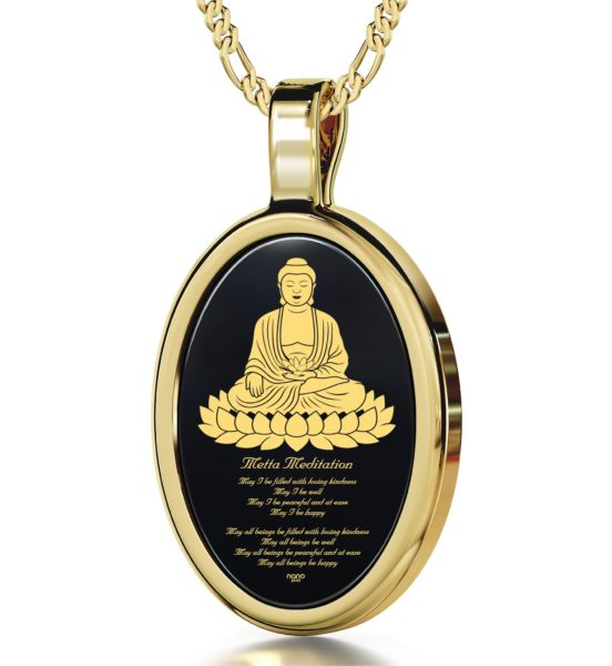 Loving Kindess Meditation - Gold Imprint on Black Onyx Gemstone
