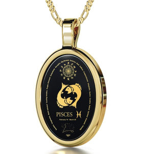Pisces - Gold imprint on black Onyx Gemstone
