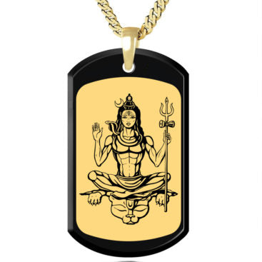 Shiva with Background Gold Image on Black Onyx Gemstone - GoldOnstone