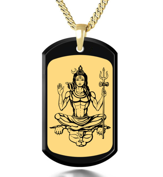 Shiva with Background Inside a Frame - Gold Image on Black Onyx Gemston