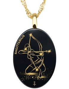 Sagittarius - Gold Imprint on Black Onyx Gemstone Pendents