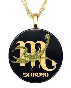 Scorpio - Gold imprint on black Onyx gemstone Pendent