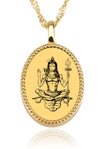 Shiva with Background Oval – Gold Image on Onyx Gemston