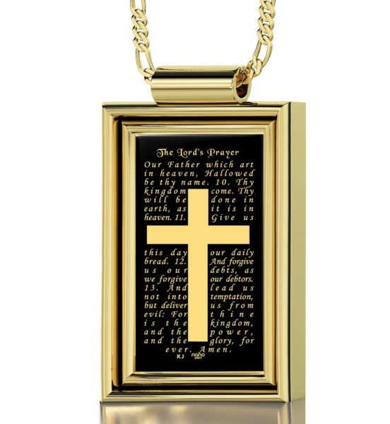 The Lord's Prayer KJ Version - Gold imprint on black Onyx gemstone