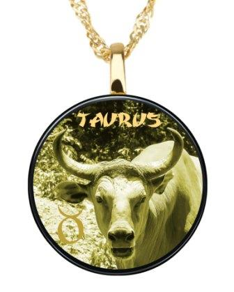 Taurus - Gold imprint on black Onyx gemstone  Pendents