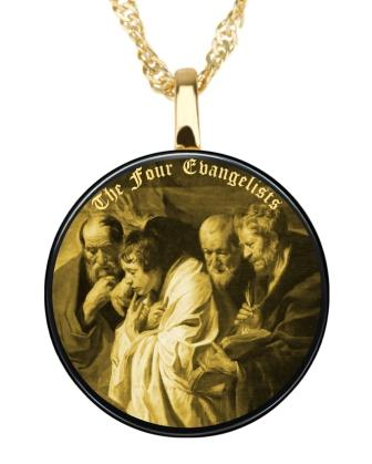 The crucifixion of Jesus Gold image necklace on Onyx Gemstone Pendent
