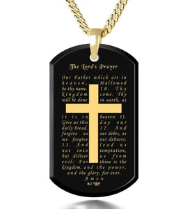 The Lord's Prayer KJ Version- Gold Imprint on Black Onyx Gemstone