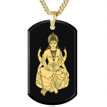 Vishnu - Gold Image on Black Onyx Gemstone