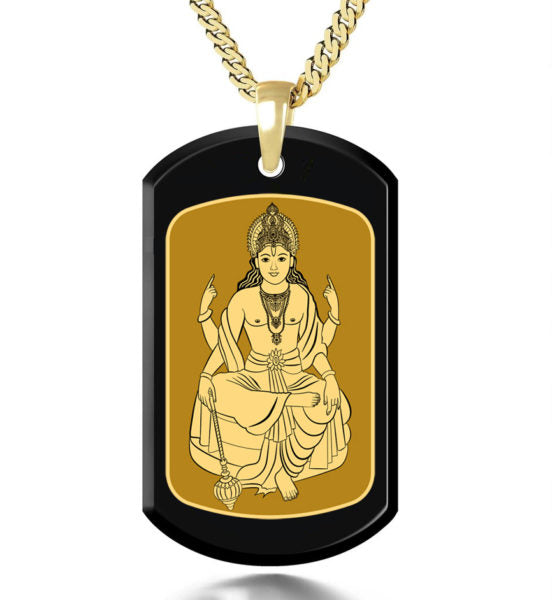Vishnu with Background Inside a Frame - Gold Image on Black Onyx