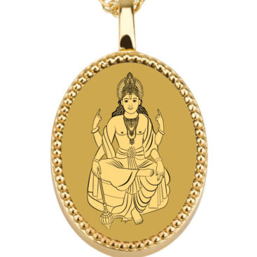 Vishnu with background - Gold image on black Onyx