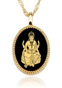 Vishnu With Black Oval – Gold Image on Onyx Gemstone