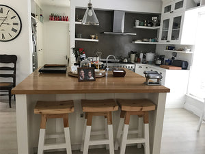 Dipped white bar stools in Constantia Kitchen