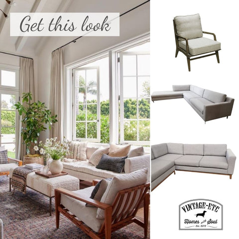 Living room with leafy greenery, the warm hues of natural wood and linen on an occasional chair and the luxurious cream and white textures of the linen sofa. Get this look with vintage-etc in Cape Town. We make custom made & bespoke tables, benches, free-standing kitchen islands, desks, media units & wardrobes in our Cape Town & Johannesburg workshops – using Oak, Oregon, Ash, Beech, Birch Ply & Meranti. We also sell imported furniture, provide design consulting services & make soft furnishings e.g. sofas & upholstered chairs in linen, velvet & stain resistant fabric.