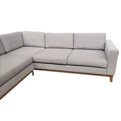Bespoke l-shape grey/cream linen sofa with solid Oak legs and cushions, custom made by Vintage-etc in Cape Town. We make custom made & bespoke tables, benches, free-standing kitchen islands, desks, media units & wardrobes in our Cape Town & Johannesburg workshops – using Oak, Oregon, Ash, Beech, Birch Ply & Meranti. We also sell imported furniture, provide design consulting services & make soft furnishings e.g. sofas & upholstered chairs in linen, velvet & stain resistant fabric.