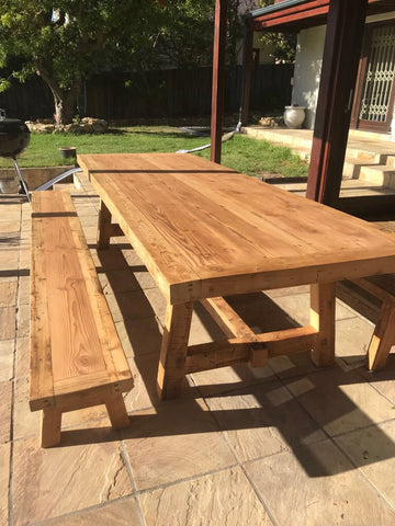3m x 1m Reclaimed Oregon table & 2 benches outside