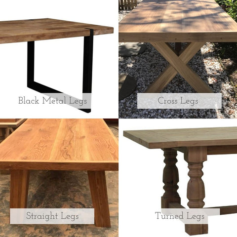 4 image collage displaying the different types of legs available for bespoke solid Oak or reclaimed Oregon tables made by vintage-etc in cape town - cross legs, tubular metal legs, straight legs or turned legs. We make custom made & bespoke tables, benches, free-standing kitchen islands, desks, media units & wardrobes in our Cape Town & Johannesburg workshops - using Oak, Oregon, Ash, Beech, Birch Ply & Meranti. We also sell imported furniture, provide design consulting services & make soft furnishing e.g. sofas & upholstered chairs in linen, velvet & stain resistant fabric