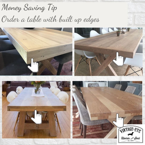 Money saving tip when ordering bespoke tables, islands and desks - from Vintage-etc