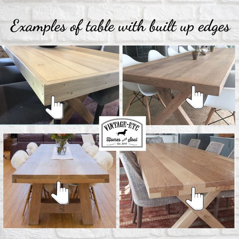 Built up edges on Oak and Pine tables mean you pay less when ordering custom or bestpoke dining tables . Vintage-etc makes custom order furniture like tables, desks, consols, media units, kitchen islands and even soft furnishings in our factories in Cape Town and Johannesburg. We use Oak, Meranti, Pine, Oregon and Veneer options.