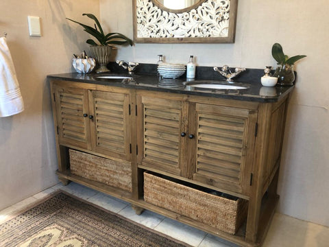 Bespoke reclaimed Oregon Double vanity unit, made by vintage-etc in Johannesburg. We make custom made & bespoke tables, benches, free-standing kitchen islands, desks, media units & wardrobes in our Cape Town & Johannesburg workshops - using Oak, Oregon, Ash, Beech, Birch Ply & Meranti. We also sell imported furniture, provide design consulting services & make soft furnishing e.g. sofas & upholstered chairs in linen, velvet & stain resistant fabric