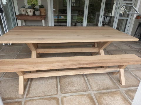 Bespoke cross-leg solid Grade A Oak dining table and benches with a light white-wash, made by vintage-etc in Cape Town.We make custom made & bespoke tables, benches, free-standing kitchen islands, desks, media units & wardrobes in our Cape Town & Johannesburg workshops - using Oak, Oregon, Ash, Beech, Birch Ply & Meranti. We also sell imported furniture, provide design consulting services & make soft furnishing e.g. sofas & upholstered chairs in linen, velvet & stain resistant fabric
