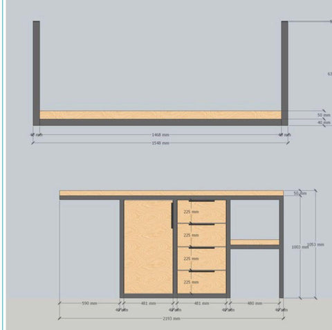 Planning drawing of Solid Oak and Matte Black Tubular Metal Coffee Station in new kitchen custom made by Vintage-etc in Johannesburg and Cape Town. We make custom made & bespoke tables, benches, free-standing kitchen islands, desks, media units & wardrobes in our Cape Town & Johannesburg workshops – using Oak, Oregon, Ash, Beech, Birch Ply & Meranti. We also sell imported furniture, provide design consulting services & make soft furnishings e.g. sofas & upholstered chairs in linen, velvet & stain resistant fabric.