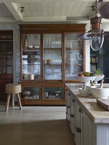 antique inspired glass door cabinet