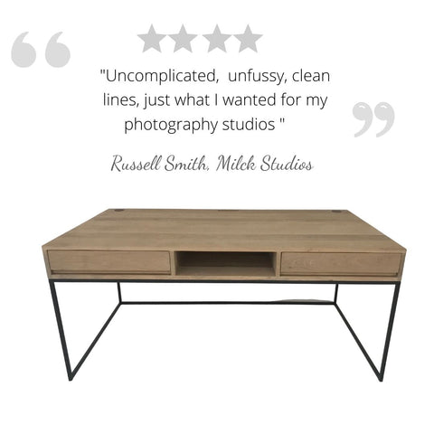 """""""uncomplicated, unfussy, clean lines - just what I wanted for my photography studios"""" Client feedback on Bespoke natural Grade A solid Oak and matte black tubular metal sleek desk, installed for well-known Cape Town photographer, custom made by vintage-etc. A functional sleek design with hidden cable holes for extra wires. We make custom made & bespoke tables, benches, free standing kitchen islands, desks, media units & wardrobes in our Cape Town & Johannesburg workshops – using Oak, Oregon, Ash, Beech, Birch Ply & Meranti. We also sell imported furniture, provide design consulting services & make soft furnishings e.g. sofas & upholstered chairs in linen, velvet & stain resistant fabric."""