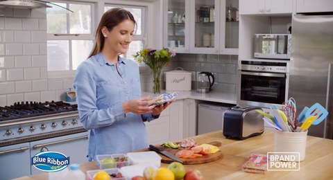 F<p>Screenshot of a TV Commercial for Blue Ribbon Squares: filmed in the kitchen </p>