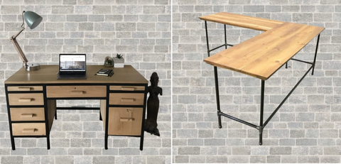 2 images next to each other - a bespoke solid Oak and matte black tubular metal study/work desk with pull out coffee rests and retro handles, and a custom made l-shape reclaimed Oregon and matte black tubular metal study/work desk; made by vintage-etc in cape town. We make custom made & bespoke tables, benches, free-standing kitchen islands, desks, media units & wardrobes in our Cape Town & Johannesburg workshops - using Oak, Oregon, Ash, Beech, Birch Ply & Meranti. We also sell imported furniture, provide design consulting services & make soft furnishing e.g. sofas & upholstered chairs in linen, velvet & stain resistant fabric
