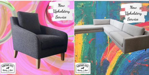 """2 picture collage displaying custom made upholstery and soft furnishing - a bespoke dark grey occasional chair with solid Oak legs, and a custom made cream l-shape linen sofa with scatter cushions and tubular metal legs, made by vintage-etc in cape town. The image also says, """"new upholstery service."""" We make custom made & bespoke tables, benches, free-standing kitchen islands, desks, media units & wardrobes in our Cape Town & Johannesburg workshops - using Oak, Oregon, Ash, Beech, Birch Ply & Meranti. We also sell imported furniture, provide design consulting services & make soft furnishing e.g. sofas & upholstered chairs in linen, velvet & stain resistant fabric"""