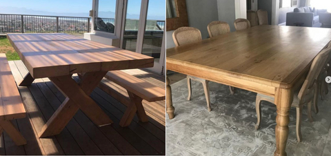 2 images next to each other - a bespoke reclaimed Oregon cross leg outdoor dining table and benches, and a custom made Teak turned leg indoor dining table; made by vintage-etc in cape town. We make custom made & bespoke tables, benches, free-standing kitchen islands, desks, media units & wardrobes in our Cape Town & Johannesburg workshops - using Oak, Oregon, Ash, Beech, Birch Ply & Meranti. We also sell imported furniture, provide design consulting services & make soft furnishing e.g. sofas & upholstered chairs in linen, velvet & stain resistant fabric