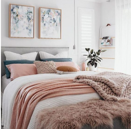 grey, blush & copper trend in bedroom with chunky knit blanket
